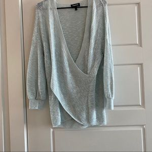 Express || wrap front balloon sleeve pullover